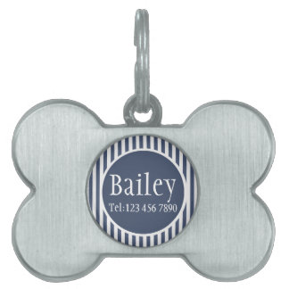 Masculine Blue Striped Personalized Pet ID Tag