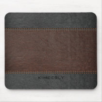Masculine Brown And Black Leather Mouse Pad