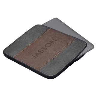 Masculine Brown And Gray Leather Laptop Sleeve