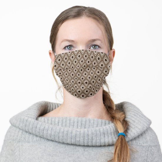 Masculine Brown and Tan Diamond Geometric Pattern Adult Cloth Face Mask