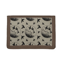 Masculine Brown Black Ducks Flying Duck Hunter Tri-fold Wallets