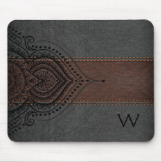 Masculine Brown & Black Leather Black Girly Lace Mouse Pad at Zazzle