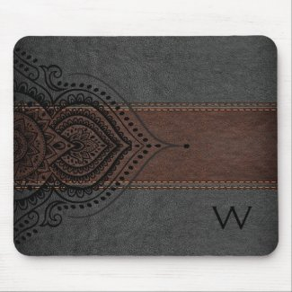 Masculine Brown & Black Leather Black Girly Lace Mouse Pad