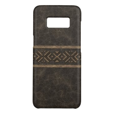 Aztec Themed Masculine Brown Leather Look with Tribal Band Case-Mate Samsung Galaxy S8 Case