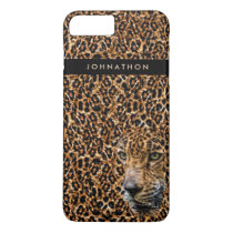 Masculine Brown Leopard Fur With Name and Wild Cat iPhone 8 Plus/7 Plus Case