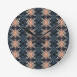 Masculine Charcoal Gray Peach Tribal Pattern Round Clock