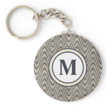 Masculine Chevron Wave Pattern in Blue and Beige Keychain