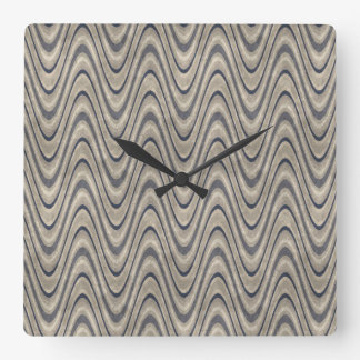 Masculine Chevron Wave Pattern in Blue and Beige Square Wall Clock