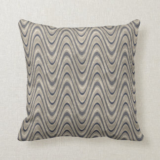 Masculine Chevron Wave Pattern in Blue and Beige Throw Pillow