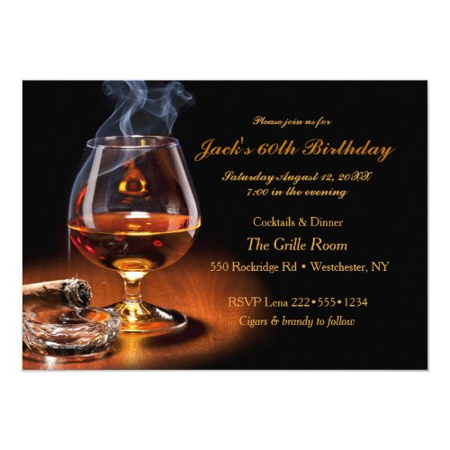 Masculine Cigars  Brandy Cognac Snifter Monogram Invitation