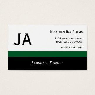 Masculine Dk Green Black Stripes Business Cards