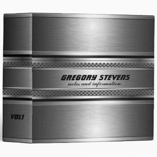 Masculine Faux Silver Stripes Design Monogramed 3 Ring Binder