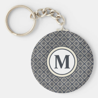 Masculine Geometric Squares Pattern Blue and Beige Basic Round Button Keychain