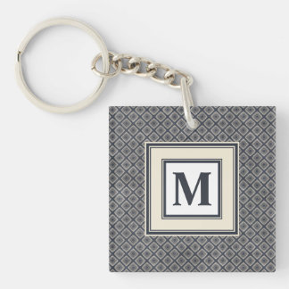 Masculine Geometric Squares Pattern Blue and Beige Keychain