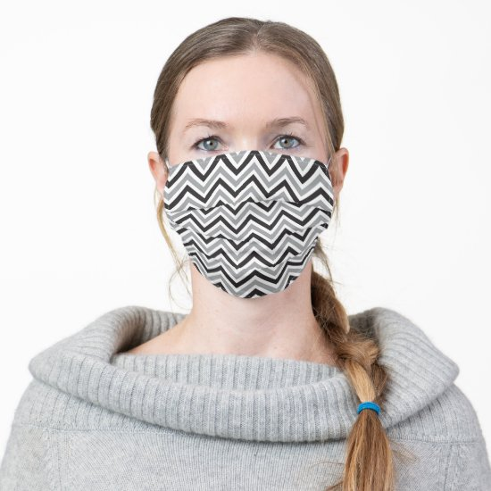 Masculine Gray and Black Chevron Stripe Pattern Cloth Face Mask