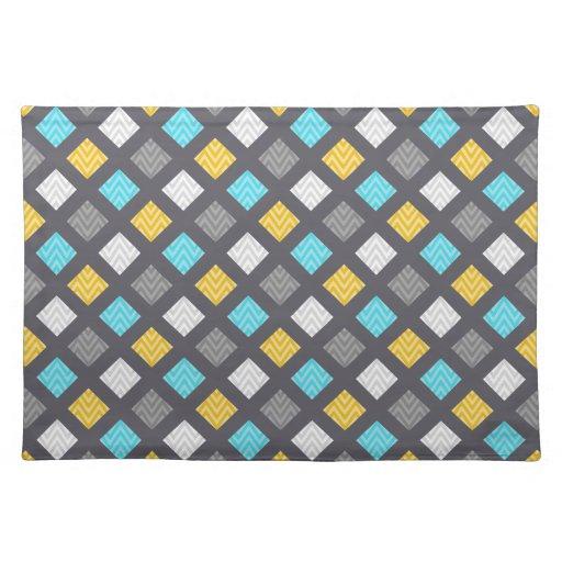 Masculine Gray Blue Yellow Geometric Pattern Place Mats