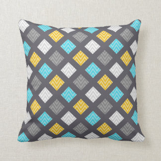 Masculine Gray Blue Yellow Geometric Pattern Throw Pillow