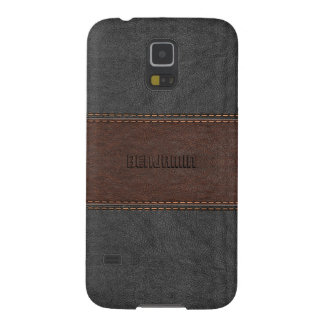 Masculine Gray & Brown Stitched Leather Case For Galaxy S5