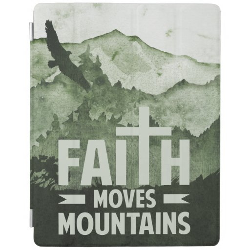 Masculine Green Faith Moves Mountains iPad Smart Cover