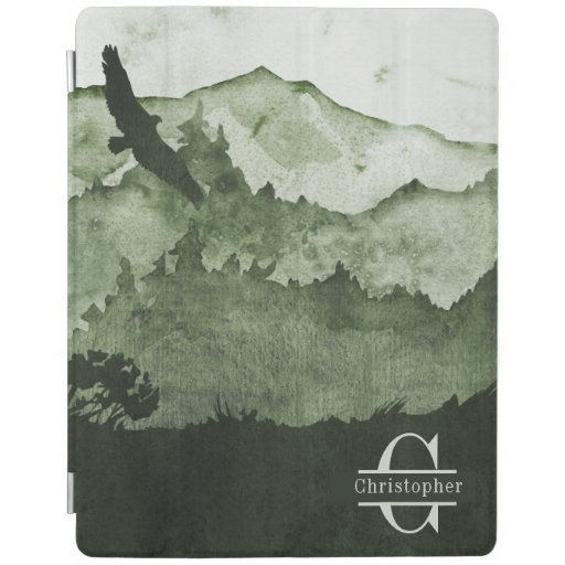 Masculine Green Mountains Eagle Monogram initial iPad Smart Cover