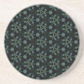 Masculine Green Teal Funky Pattern Coaster
