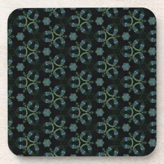 Masculine Green Teal Funky Pattern Drink Coaster