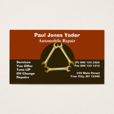 Masculine Guys Mechanic Tools Wrench Business Card at Zazzle