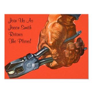 Masculine Hand Pliers Retire Retirement Invitation