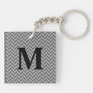 Masculine Herringbone Chevrons Pattern in Greys Double-Sided Square Acrylic Keychain