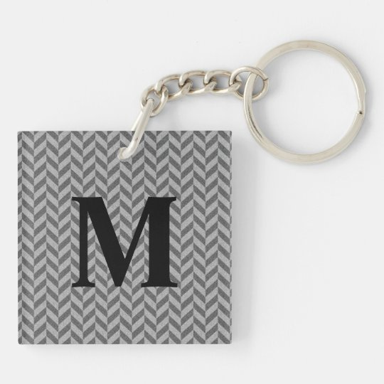 Masculine Herringbone Chevrons Pattern in Greys Keychain