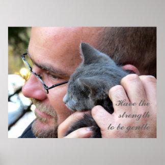 Masculine Kitten Love Print