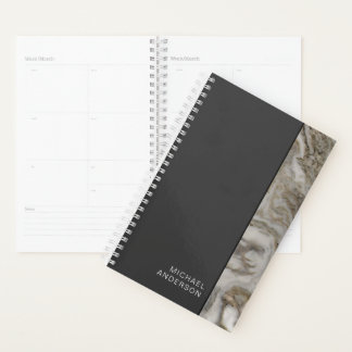 Masculine Look Flat Black and Marble Edge Planner