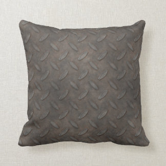 Masculine Manly Grungy Metal Diamond Plated Art Pillows