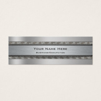Masculine Metal and Diamond Plate Effect Mini Business Card