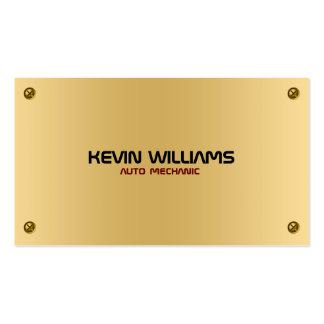 Masculine Metallic Gold Texture With Rivets Business Card