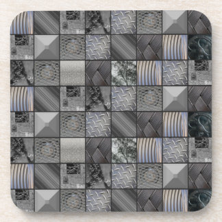 Masculine Monochrome Mosaic Tiled Pattern Coaters Coasters