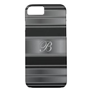Masculine Monogram Black Metal Steel iPhone 7 Case