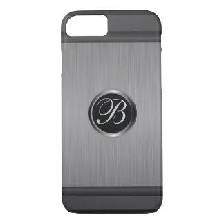 Masculine Monogram Black Steel Metallic Look iPhone 7 Case
