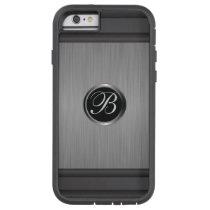 Masculine Monogram Black Steel Metallic Look Tough Xtreme iPhone 6 Case