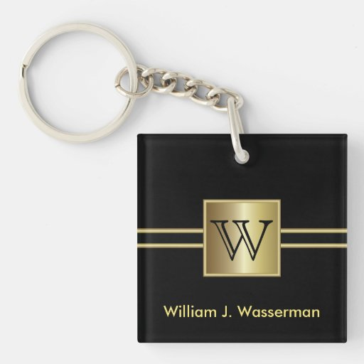 Masculine Monogram Executive Key Chain Acrylic Keychain