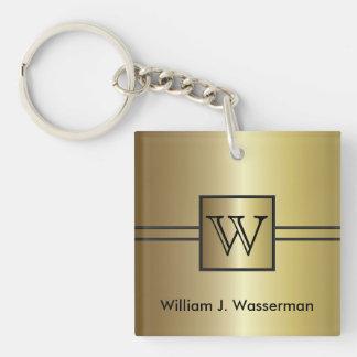 Masculine Monogram Executive Single-Sided Square Acrylic Keychain