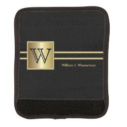 Masculine Monogram Executive Style - Black & Gold Handle Wrap