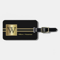 Masculine Monogram Executive Style - Black & Gold Luggage Tag at Zazzle