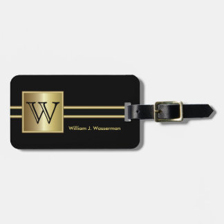 Masculine Monogram Executive Style - Black & Gold Luggage Tag