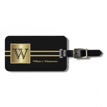 designsbydonnasiggy Masculine Monogram Executive Style - Black & Gold Luggage Tag