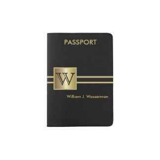 Masculine Monogram Executive Style - Black & Gold Passport Holder