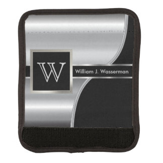 Masculine Monogram Executive Style -Black & Silver Handle Wrap