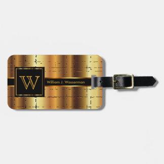Masculine Monogram Executive Style - Gold Metal Bag Tag