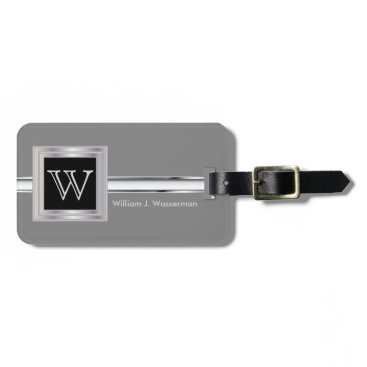 DesignsbyDonnaSiggy Masculine Monogram Executive Style - Silver Gray Luggage Tag