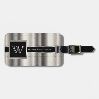 Masculine Monogram Executive Style - Silver Metal Luggage Tag